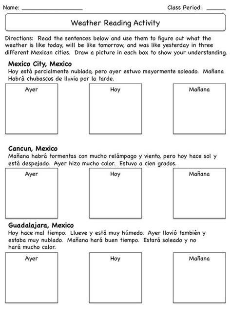 El tiempo reading activity / weather in Spanish class