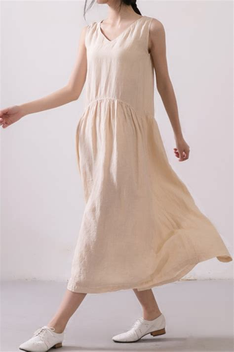 Simple Linen simple fitting linen mid calf tank dress with pockets linen dresses custom