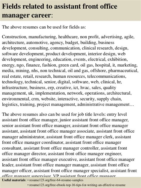 sle assistant front office manager resume top 8 assistant front office manager resume sles