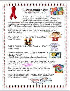 1000 Images About School Red Ribbon Week On Pinterest Red Ribbon Week Red Ribbon And Free Spirit Week Flyer Template
