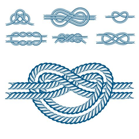 boat knots designs sea boat rope knots vector illustration isolated marine