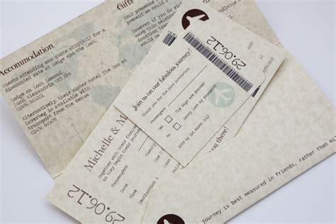 travel ticket wedding invitations uk vintage style parchment chocolate travel ticket wedding
