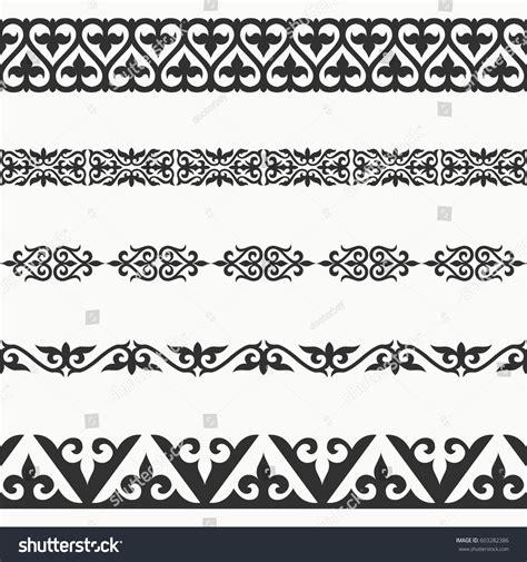 design pattern most used kazakh seamless borders border decoration elements stock