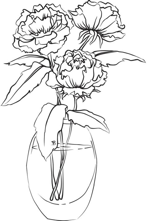Vase and flowers drawing vase drawings and vase and flower drawing how to draw flower vase