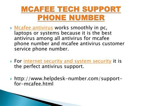 customer support phone number ppt contact to mcafee antivirus technical support phone number 1800 824 4013 powerpoint