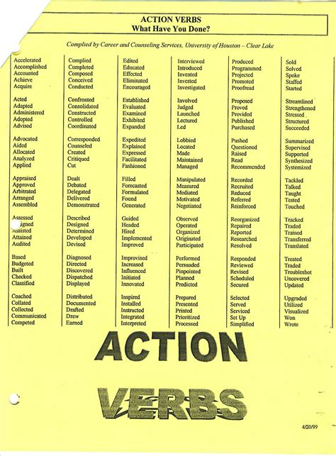 just a few action verbs to use on your legal resume job interview