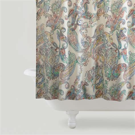 shower curtain paisley multicolor paisley shower curtain world from cost plus world