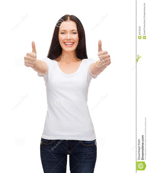 x8 deanna t shirt white smiling in white t shirt showing thumbs up stock