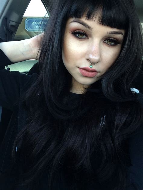 black color hairstyles tumblr blunt short bangs layered raven black hair her makeup