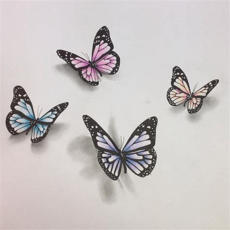 tattoo 3d drawing 3d butterfly drawing pinteres