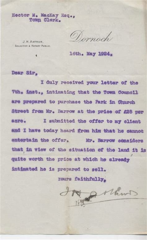 Offer Letter For Land Dornoch Historylinks Image Library Letter Re Offer To Purchase Land 1924