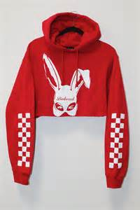 Comfort Bunny Bad Bunny Cropped Hoodie In Red Badwood