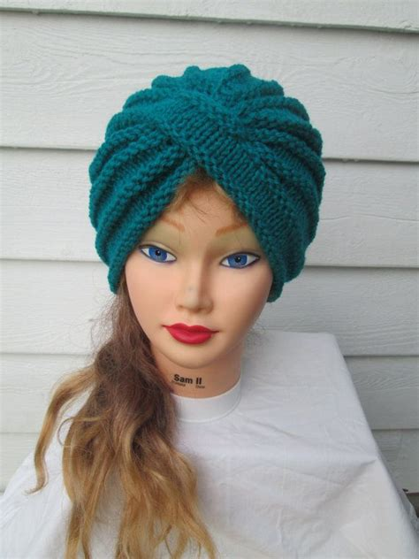 knit turban knit turban turquoise turban hat knitted by
