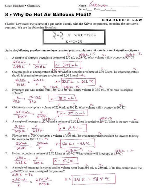 Ideal Gas Problems Worksheet