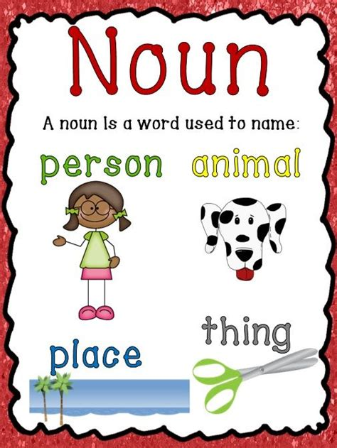 Printable Noun Poster | nouns verbs adjectives activities poster and printables