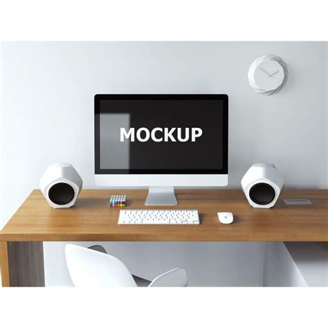 free computer desk computer mockup on desk psd file free