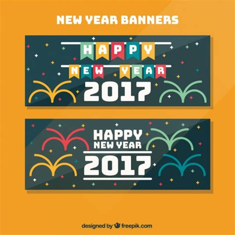 free vector new year banner happy new year banners in flat design vector free