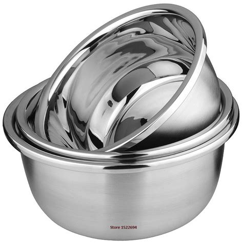Stainless Bowl Mangkok Stainless 18cm Vavinci flat base stainless steel bowl mixing salad bowl mirror finish prep bowl series food storage