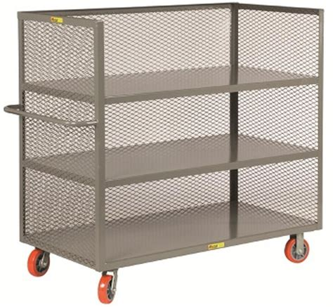 Three Shelf Rolling Cart by Steel Rolling Cart 3 Shelves With 3 Enclosed Sides