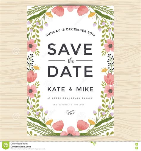 wedding invitation card suite with flower templates save the date wedding invitation card template with