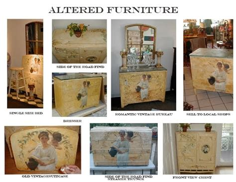 exles of decoupage printable vintage papers altered decoupage furniture