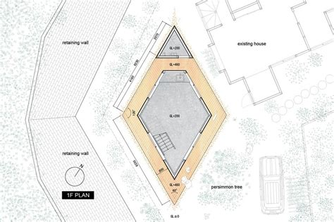 compact diamond shaped house plan by yuji tanabe modern