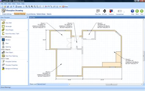 draw a room online loopcad radiant heating software