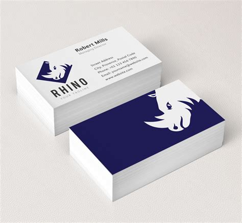 Business Card Template With And Logo by Rhino Logo Business Card Template The Design