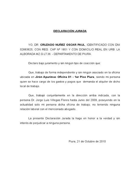 declaracion jurada personal declaraci 211 n jurada de trabajo