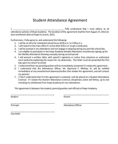 Student Attendance Contract Template 7 Student Contract Sles Templates Sle Templates