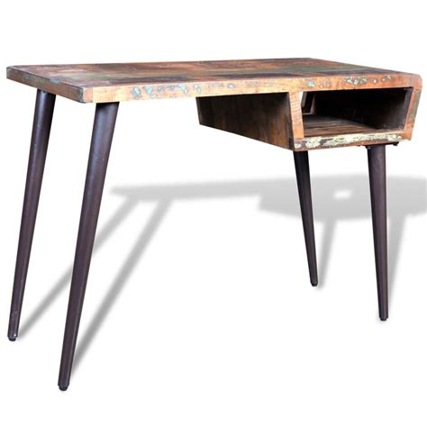 schreibtisch vintage vidaxl co uk reclaimed wood desk with iron legs
