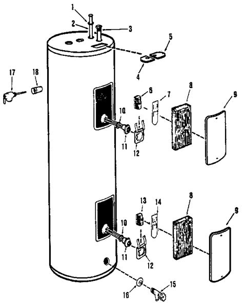 electric water heater parts diagram size