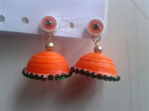 Paper Jhumkas - paper craft and quilling quilled jewellery jhumkas and