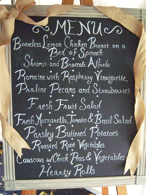 chalkboard  write   dinner menu  guests