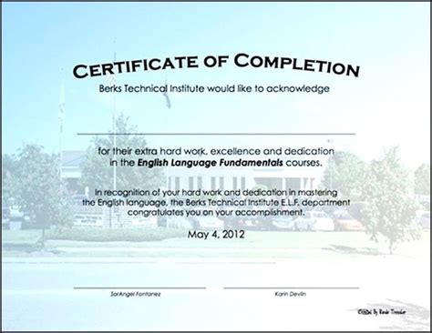 certificate of completion construction templates 28
