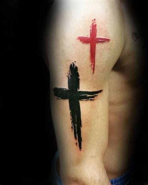 red and black ink paint brush stroke simple cross mens arm