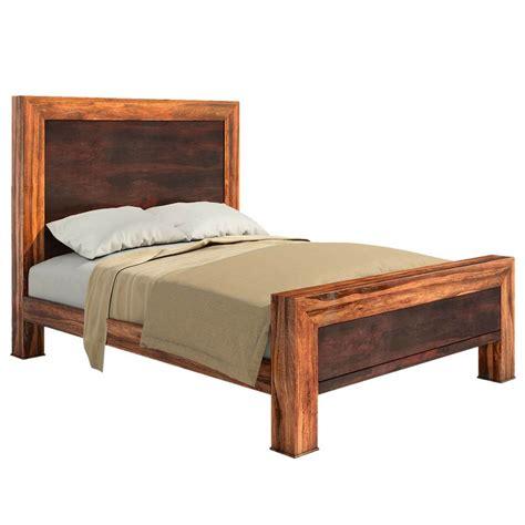 solid wood paneled platform bed frame w headboard