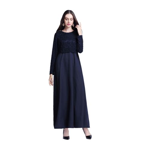 Maxi Dress Muslim Dress Wanita Marissa Maxi chic islamic muslim kaftan abaya jilbab sleeve lace hollow maxi dress ebay