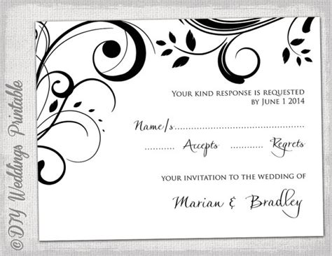 rsvp card template for wedding and welcome rsvp template diy black and white scroll