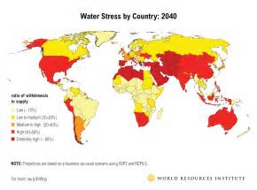 World Stress Map by Ranking The World S Most Water Stressed Countries In 2040