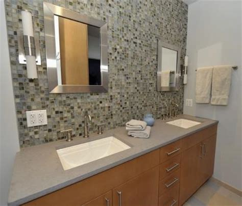 glass tile backsplash maple cabinets home bathroom