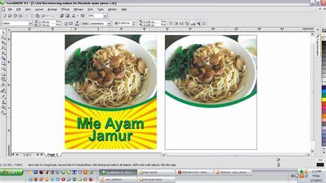 desain brosur dengan corel draw x3 desain spanduk digital mie ayam jamur dengan corel draw x3