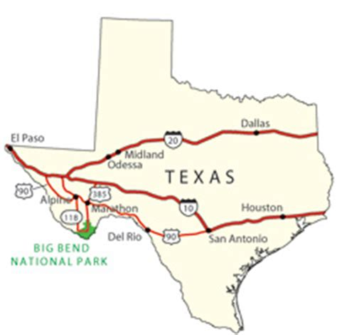 big bend national park texas map state map showing highway routes to and from big bend national park