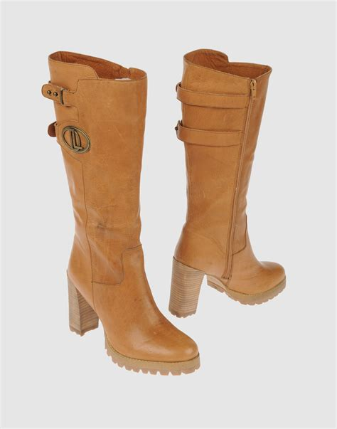 camel high heel boots donna loka high heeled boots in brown camel lyst