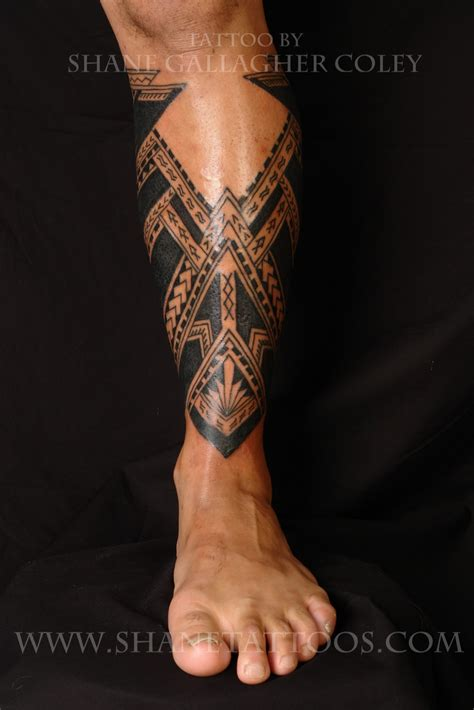 shane tattoos samoan calf tattoo