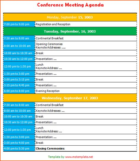 conference schedule template 6 conference agenda template bookletemplate org