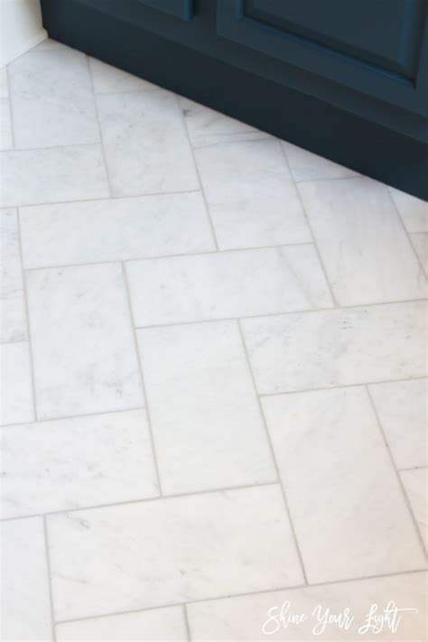 Installing Marble Tile Large Herringbone Marble Tile Floor How To Diy It For Less Shine Your Light