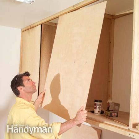 how to install kitchen cabinets family handyman installing large garage cabinets the family handyman