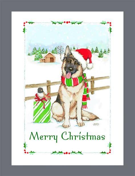 german shepherd dog christmas cards box   cards