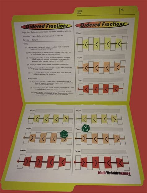 printable maths games for upper primary ordered fractions found in 42 printable math games for